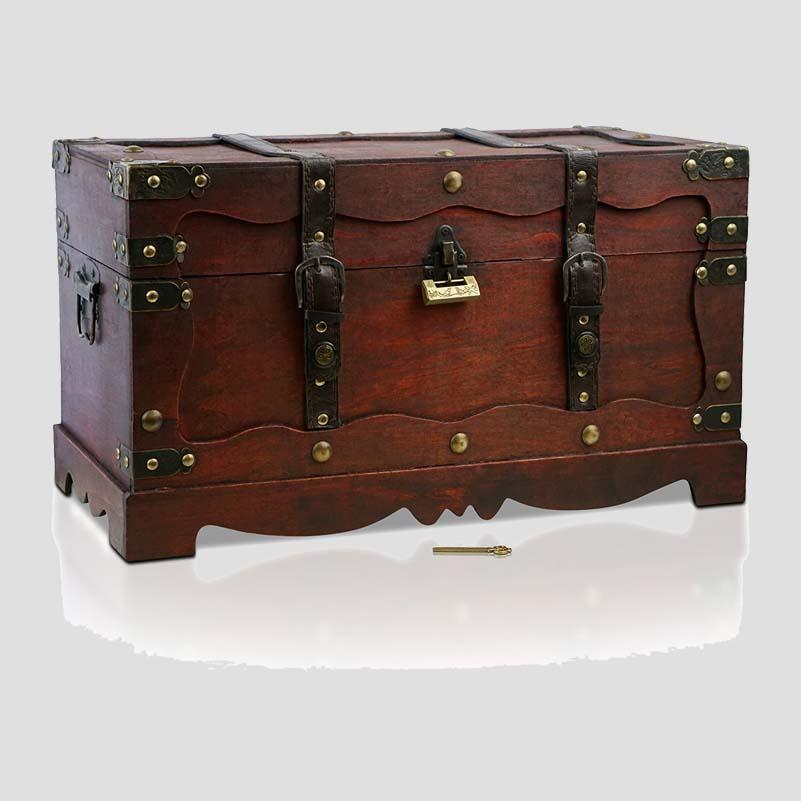 coffre de rangement en bois aspect ancien marque. Black Bedroom Furniture Sets. Home Design Ideas