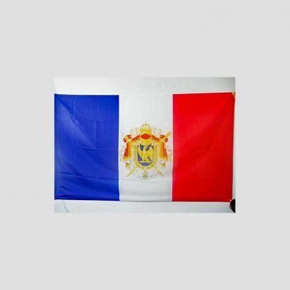 Objet de décoration - Drapeau français orné des armoiries de Napoléon 1er