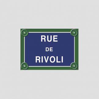 Rue de Rivoli - Plaque de rue en métal