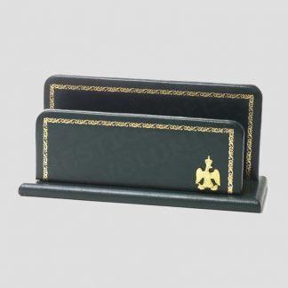 Porte-lettres de la collection Napoléon en cuir vert de haute qualité - Marque : Laurige