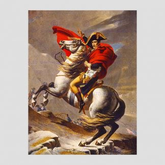 """Reproduction du tableau de Jacques-Louis David """"Bonaparte franchissant le Grand-Saint-Bernard"""""""