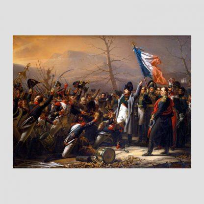 """Affiche taille 55 x 40 cm """"Le retour de Napoléon de l'île d'Elbe en février 1815"""" d'après l'oeuvre de Charles Baron von Steuben"""