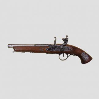 Pistolet à silex époque napoléonienne, réplique fabriquée par Denix