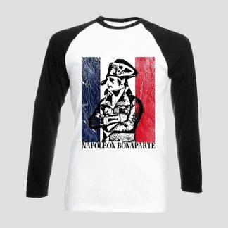 T-shirt blanc et noir manches longues portrait général Bonaparte sur fond de drapeau français