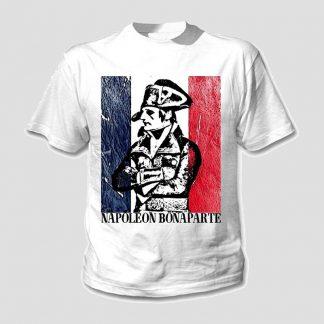 T-shirt blanc manche courte portrait général Bonaparte sur un fond de drapeau français