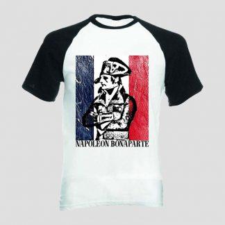 T-shirt blanc et noir manches courtes portrait général Bonaparte sur fond de drapeau français