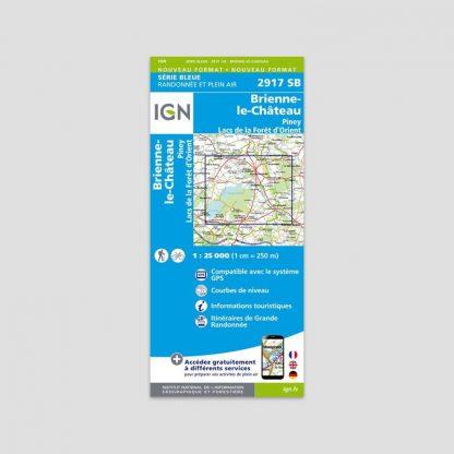 Carte dépliante IGN : Brienne-le-Château - Piney - Lacs forêt d'Orient - Série Bleue 2917 SB - 1:25000