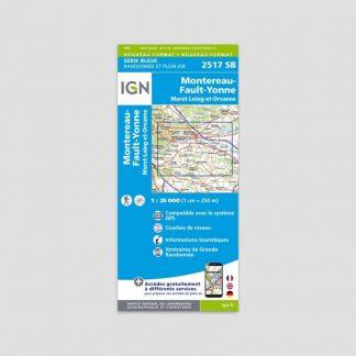 Carte dépliante IGN : Montereau-Fault-Yonne - Série Bleue 2517 SB - 1:25000