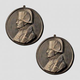 Profil de Napoléon 1er - Pack de deux plaques en bronze