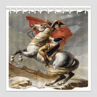 Rideau de douche en polyester général Bonaparte franchissant le Grand-Saint-Bernard