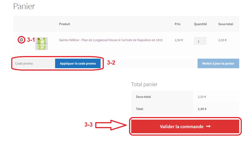 Étape 3 :  Cliquez sur le bouton Valider la commande.