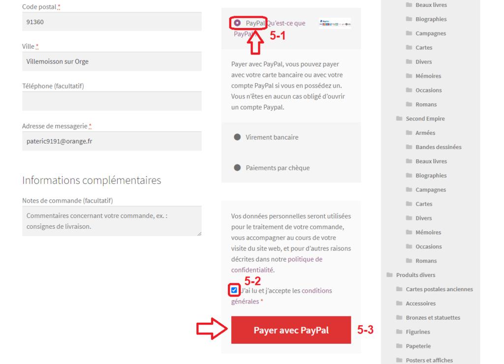 Étape 5 : Choisir Paypal comme moyen de paiement