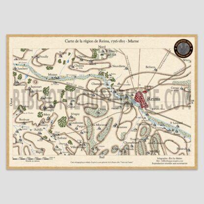 Carte région de Reims entre 1756 et 1815
